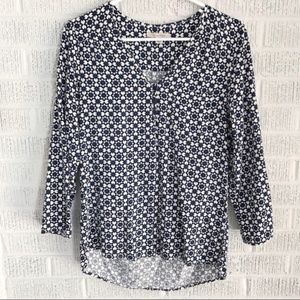 41 Hawthorn Navy Blue Geometric Blouse Sz S